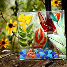 Fused Glass Art Projects | Kathy's second project, a glass tile for her garden, is gorgeous.