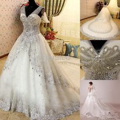 2016 New Luxury Crystal Zuhair Murad A-Line Wedding Dresses Lace V Neck Sheer Strap SWAROVSKI Bridal Gowns Cathedral Train Free Petticoat 2016 Wedding Dress Bridal Dresses Gown A-Line Dress Online with $293.71/Piece on Yahuifang2016's Store | DHgate.com