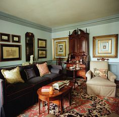 Room of the Day ~ blue walls, patterned rug, charcoal sofa, art - home of antiquarian with design by Killian-Dawson Interiors 9.14.2014