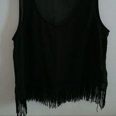 Tops - Urban outfitters Black sheer crop top with fringe