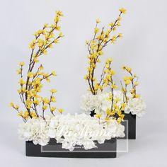 LAMOME纳茉花艺/新中式仿真花 黄色迎春花白绣球成品花艺套装 样板房装饰花-淘宝网