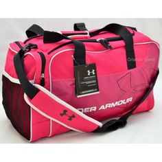 Under Armour UA Dauntless Duffel in Pink and Black  Features:   lightweight, durable nylon and polyester duffel bag  a structured shape  large zippered main compartment with a u-shaped closure for easy packing and unpacking  zippered pouch  mesh side ventilation for breathability  additional side pocket provides extra storage spa...