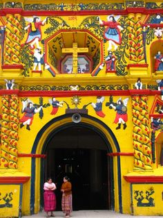 A small village in the Western Highlands of Guatemala, San Andrés Xecul is home to a brightly-painted Catholic church adorned with a fascinating array of Mayan, Christian and agricultural images.