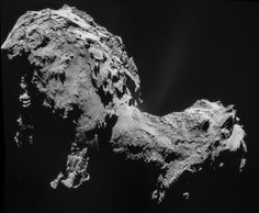Rosetta spacecraft obtained this four-image NAVCAM mosaic of Comet 67P/Churyumov-Gerasimenko, with images taken on Sept. 19, 2014, when it was 18 miles (28.6 km) from the comet.