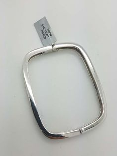 18k White Gold 1.00ct Diamond Pave Square Bangle Bracelet