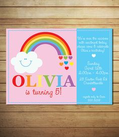 Possible invitation for Lizzy's rainbow theme birthday - Rainbow Invitation for Girls Rainbow & by lollipopsandunicorns,