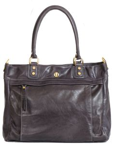 Harrison Tote Gray - Corrente Handbags | Leather Handbags and Purses Made Locally In NYC, USA