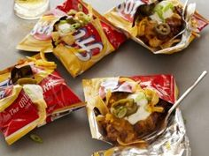 Treva Sue's Baggy Nachos : Recipes : Cooking Channel  We call them WALKING TACOS or TACOS IN A BAG. Great for gatherings, large and small.You can be as detailed as this recipe....or simply use your own favorite taco meat mixture and top with your favorite 'fixins'!!