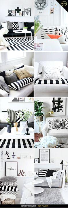 » INSPIRATION | B White Home Decor, Diy Home Decor, Black And White Pillows, Black White, I Spy Diy, Luxe Decor, White Rooms, Diy Pillows, Dream Decor