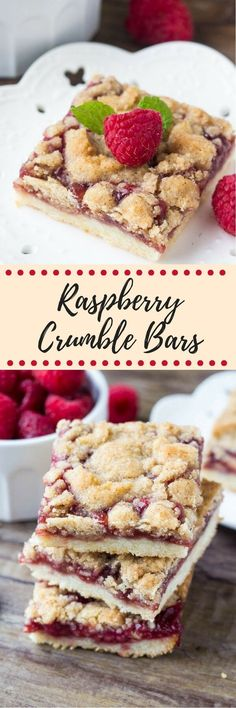 These raspberry crumble bars have a delicious shortbread base, a layer of juicy raspberries, and crunchy crumble topping. Delicious with ice cream, or a drizzle of sweet vanilla glaze.