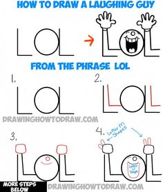 How to Draw LOL Laughing Guy from the Word LOL - Simple Steps Drawing Tutorial for Children