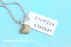 Mixed Metals Favorite Teacher Necklace by youregonnalovethis teacher gift jewelry hand stamped