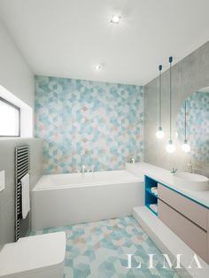Modern Bathrooms Interior, Bathroom Interior Design, Warm Bathroom, Small Bathroom, Blue Glass Tile, Bathroom Inspiration, Corner Bathtub, House, Home Decor