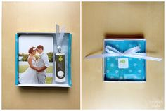 custom flash drive with cute light blue ribbon tie in creative small box packaging