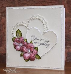 Quick Valentines Card Made using the Timeless Amour die, Vintage Florets flowers and sentiment from Arianna Blooms. Made by Liz Walker.