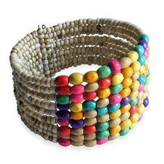 Royal Bali Collection Cream and Multi Color Bead Cuff | Liquidation Channel