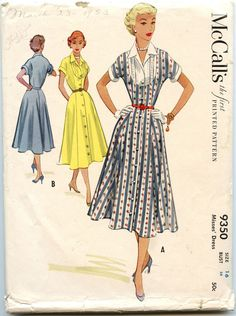 1950s Vintage Sewing Pattern McCalls