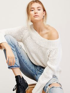 Beachy Slouch Sweater | Effortless sweater featuring a slouchy cotton-blend fabrication and oversized, relaxed silhouette.