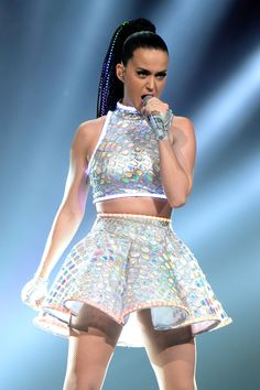 "Katy Perry, ""The Prismatic World Tour"" - whatever you think about her style or her music, I love the fabric of this costume. TEKS 130.93 (10) I - The student develops an understanding of fashion and the textile and apparel industries. The student is expected to: (I) analyze the apparel production process from design concept to finished product #FS4703"