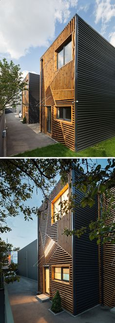 Good Container House   These Townhouses Feature A Creative And Artistic Wood  Exterior Who Else Wants Simple Nice Look