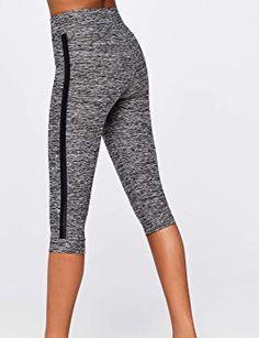 0a43af1356e14 AURIQUE Women's Side Stripe Capri Sports Leggings: Amazon.co.uk: Clothing