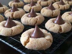 Peanut butter and Hershey's Kisses blossom cookies