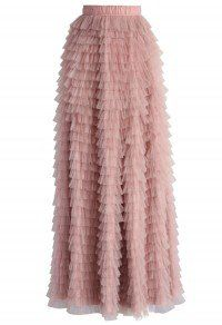 Swan Cloud Maxi Skirt in Rouge Pink