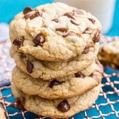 These Bakery Style Chocolate Chip Cookies are perfection! They're big, thick, and chewy and loaded with milk and semisweet chocolate!