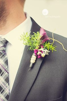 plum and lime green boutonniere - wedding flowers - Charlottesville, VA - pinned by Whimsical Floral Design http://whimsicalfloral.com