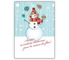 Franz. Weihnachtskarte mit jonglierendem Schneemann: Amitiés... - http://www.1agrusskarten.de/shop/franz-weihnachtskarte-mit-schneemann-amities-et-souhaits-chaleureux/    00000_1_2458, Grusskarte, Klappkarte Rentier, Santa Sterne, Schneemann, Tanne, Weihnachtsbaum Engel, Weihnachtsmann, Winter00000_1_2458, Grusskarte, Klappkarte Rentier, Santa Sterne, Schneemann, Tanne, Weihnachtsbaum Engel, Weihnachtsmann, Winter