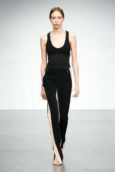Daytime style - vest top with waist defining belt and side buttoned trousers - David Koma SS18...x