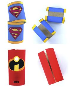 Superhero Cuffs **Took all of 5 minutes & the kids loved them.  Used an elastic band to secure to their wrists, falls off easily otherwise.**