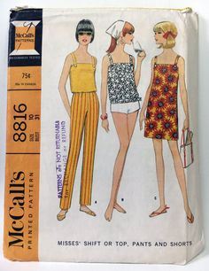 McCall's 8816 Vintage 1960's Sewing Pattern: Shift Dress, Tank Top, Pants, and Shorts, Size 10 (31-24-33)