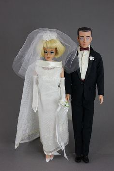 """Blonde American Girl in """"Wedding Wonder"""" and Ken in """"Tuxedo""""- she could have paid more attention to her hair for her big day! Looks like Carol Channing hair Barbie And Ken Costume, Ken Barbie Doll, Girl Barbie, Vintage Barbie Dolls, Barbie Collector, Vintage Toys, Barbie Bridal, Barbie Wedding, Barbie World"""