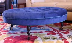 DIY Diamond Tufted Ottoman with contrast trim - the Project Addict
