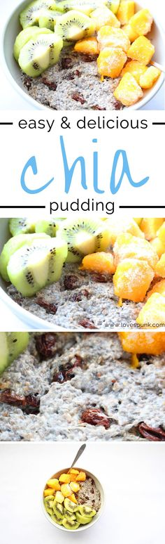 Easy and Delicious Chia Pudding- A healthy breakfast option or a quick snack! Creamy and irresistible texture with a hint of sweetness + fresh fruit!