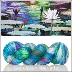 Expression Fiber Arts, Inc. - WATER LILIES SUPERWASH MERINO SILK PEARLESCENT FINGERING YARN, $30.00 (http://www.expressionfiberarts.com/products/water-lilies-superwash-merino-silk-pearlescent-fingering.html)