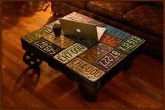 Old License Plate Table
