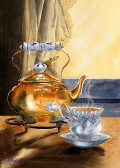 Copper Kettle Painting - Afternoon Tea by Jill Westbrook