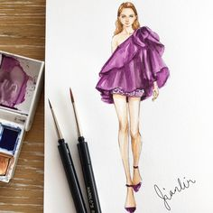Elie Saab Fall 2018 Couture size Watercolor on Fabriano. Cocktail glamour in the form of short dresses in voluminous… Wedding Dress Sketches, Dress Design Sketches, Fashion Design Drawings, Fashion Sketches, Dress Illustration, Fashion Illustration Dresses, Fashion Drawing Dresses, Elie Saab Fall, Cocktail Wear