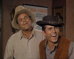 """Bonanza"" - Dan Blocker as Hoss, and Michael Landon as Little Joe"