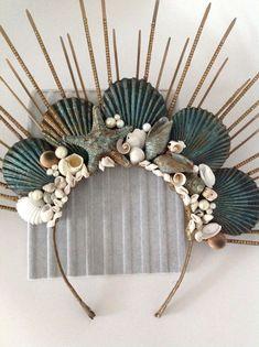 Mermaid Crafts, Mermaid Diy, Mermaid Crowns Diy, Headpiece Jewelry, Floral Headpiece, Headpiece Wedding, Sea Crown, Shell Crowns, Seashell Crown