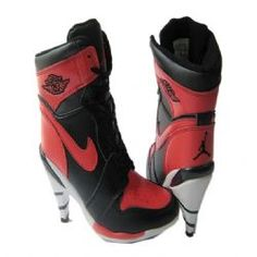 huge selection of 55685 a127d Cheap Women s Nike Air Jordan 1 High Heels Shoes Black Red White For Sale