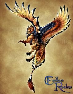 """Bestiary artwork for Endless Realms, a D&D-like """"pen and paper"""" fantasy RPG I'm working for. Ye olde (not-quite) standarde griffone, inspired by the colours of ornate eagles. The art dire..."""