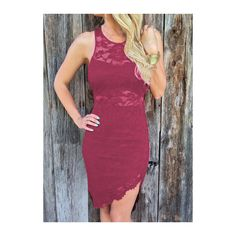 Rotita Zipper Design Round Neck Bodycon Dress ($24) ❤ liked on Polyvore featuring dresses, wine red, lace sleeve dress, red knee length dress, red lace dress, purple dresses and lace bodycon dress