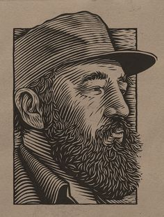Scratchboard and woodcut illustrations by Mitch Frey