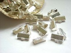 20 Silver Crimp Ribbon End Caps  13mm by TreeChild1 on Etsy, $2.99