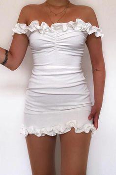 Madeline Off Shoulder Mini Dress – White – fashion nova jeans outfits Black Dress Outfits, Girly Outfits, Mode Outfits, Fashion Outfits, Skater Outfits, Disney Outfits, Fashion Clothes, Trendy Outfits, Clothes Women