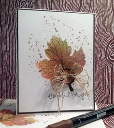 by Billie: Sheltering Tree, Gorgeous Grunge, Leaflets framelits, Gold embossing powder, & more - all from Stampin' Up!