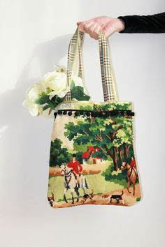 Vintage cross stitch upcycled into a Kitsch-tastic tote bag!